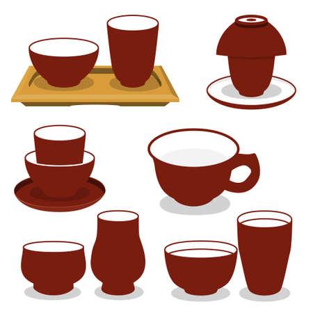 Chinese tea utensils set. Isolated vector set on white background.