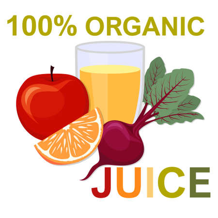 Natural fresh juice in a glass. Healthy organic food. Flat vector illustration