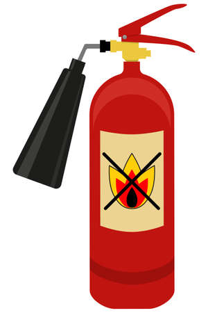 suppression: Fire extinguisher isolated on white background. Flat vector illustration