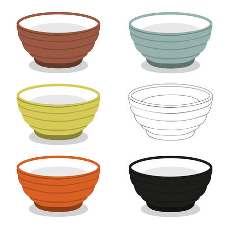 Chinese utensil illustration set; Cups or bowl of different color types, set of illustration which can be used as sticker, badge, sign, stamp, banner, icon or label.