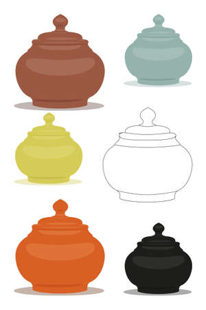 Chinese utensil illustration set. Sugar bowl of different cly types. Vector illustration can be used as sticker, badge, sign, stamp, logo, banner, icon or label. Illustration