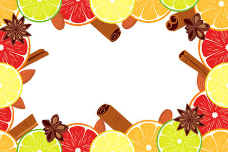 Vegan day colorfull poster fruit citrus background. Vector illustration with citrus orange lemon lime grapefruit slices, sipices cinnamon baden anise, almond nuts and red berries can be used as gift card, site, poster or menu background. Illustration