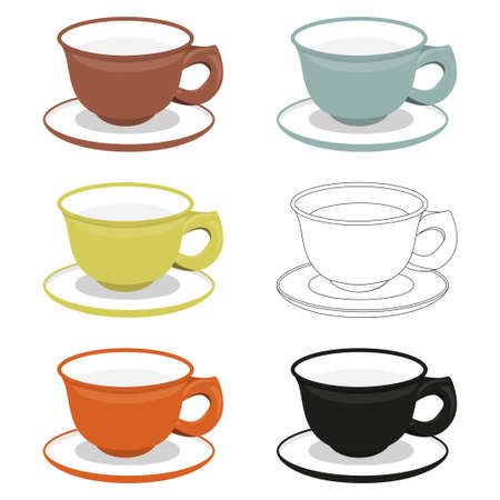 Chinese utensil illustration set. Cups and saucers of different cly types. Vector illustration can be used as sticker, badge, sign, stamp, logo, banner, icon or label. Illustration