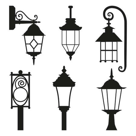 Street lamp black silhouette set. Illustration