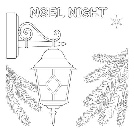 Noel night black and white poster with lonely star, street lamp and christmas tree branches. Coloring book page for adults and kids. Vector illustration can be used as gift card for christmas, flyer, certificate or banner.