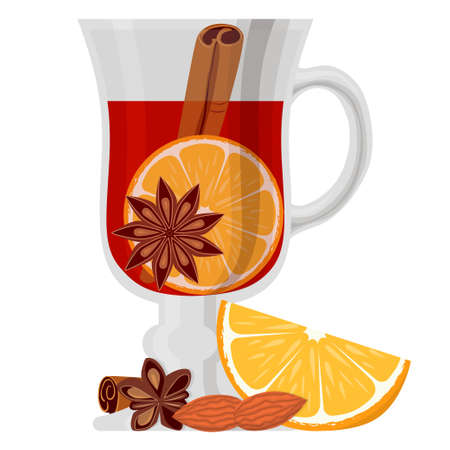 Mulled wine poster on white background. Bright colorful vector illustration with orange nuts and fragrant spices for gift card, flyer, certificate or banner.