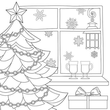 Cartel De Tema De Navidad Con árbol De Navidad, Estrella, Luz De ...