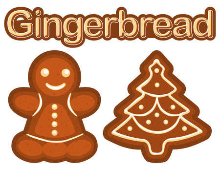 Bright colorful poster with ginger bread cookie woman and christmas tree. New year flat vector illustration for sticker, badge, sign, stamp, logo, banner, icon, label, gift card, certificate or banner