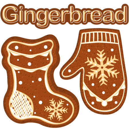 Gingerbread sock and glove colorful bright poster. New year theme flat vector illustration for sticker, badge, sign, stamp, logo, banner, icon, label, gift card, flyer, certificate or banner Stock Photo