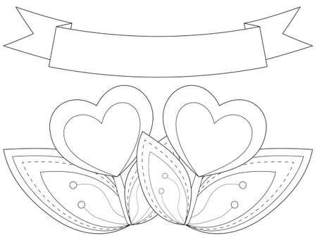 Black And White Heart Plants Under Ribbon With Place For Text
