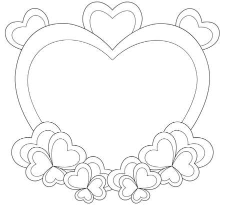 Heart Shaped Frame For Valentine Day Card Coloring Book Page