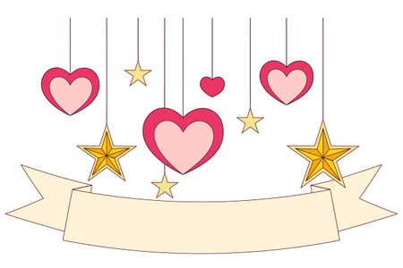 Colorful poster - ribbon, hearts and stars. Valentine day holiday vector illustration for gift card, flyer, certificate or banner