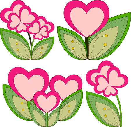 Colorful heart flower plant collection set isolated on white background. Valentine day holiday vector illustration for gift card, poster, flyer, certificate or banner