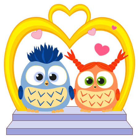 Cute baby owl in love wedding poster, heart, arc, stair. Valentine holiday vector illustration for gift card, flyer, certificate banner poster invitation