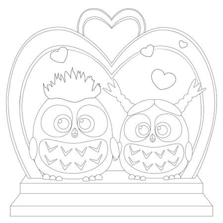 Cute baby owl in black and white wedding poster.