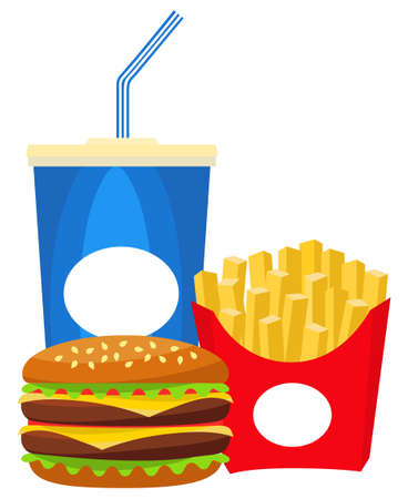Colorful poster fast food soda burger fries. Junk food vector illustration for certificate banner sticker, badge sign, stamp, logo, icon label.