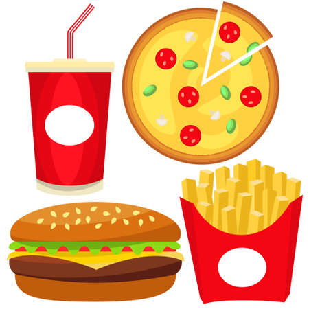 Colorful fast food icon set. Soda burger pizza fries. Junk food vector illustration for certificate banner sticker, badge sign, stamp, logo, icon label. Çizim