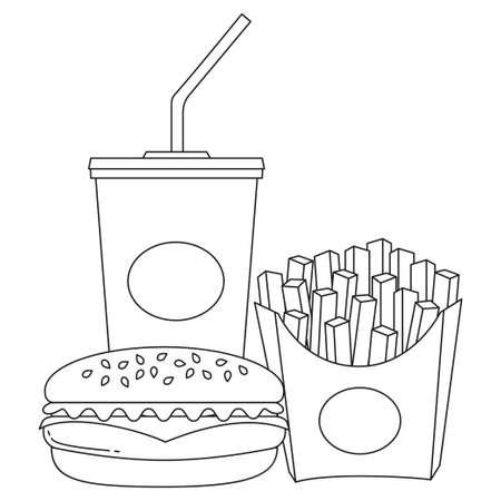 Hamburguesa de soda de comida rápida en blanco y negro cartel de arte papas fritas. Página de libro para colorear para adultos y niños. Ejemplo malsano del vector de la comida de la comodidad para la etiqueta engomada de la bandera del certificado del carte cadeaux, muestra de la insignia, sello, logotipo, etiqueta del icono.