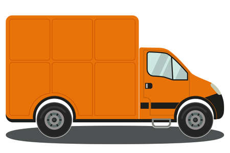 Orange delivery truck side view isolated on white background poster. Colorful vector illustration for certificate banner sticker, badge sign, stamp, logo, icon label.