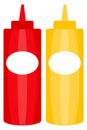Colorful ketchup mustard sauce bottle icon poster. Junk food vector illustration for certificate banner sticker, badge sign, stamp, logo, icon label. Illustration