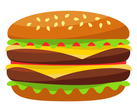 Colorful burger hamburger cheeseburger fast food icon poster isolated on white background. Junk food vector illustration for certificate banner sticker, badge sign, stamp, logo, icon label. Illustration