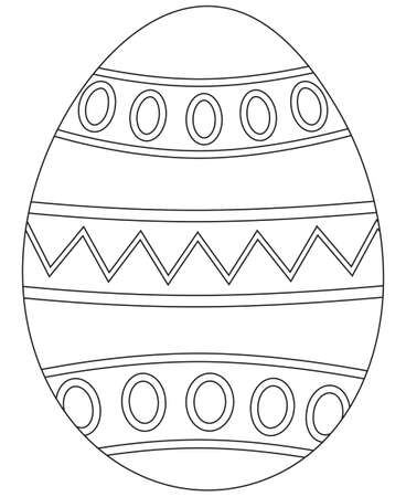 Black and white easter egg poster. Coloring book page for adults and kids. Holiday vector illustration for gift card certificate banner sticker, badge sign, stamp, logo, icon label.
