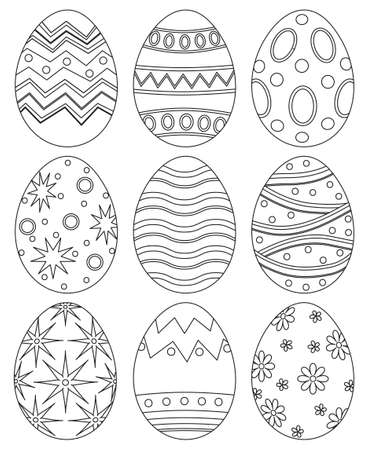Black and white easter egg collection set poster. Coloring book page for adults and kids.