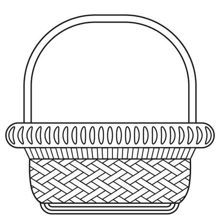 Line art black and white wicker basket shopping cart icon poster. Coloring book page for adults and kids. Vector illustration for gift card, flyer, certificate or banner, icon, logo, patch, sticker