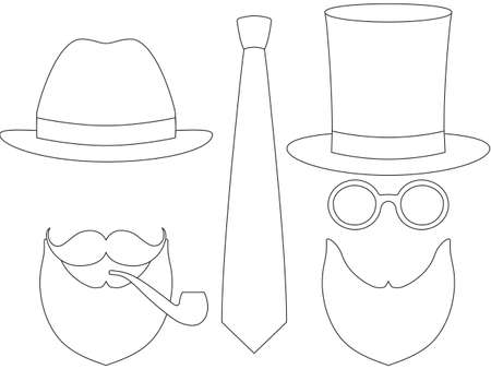 Icon poster man father day avatar set hat glasess mustache smoking pipe beard tie. Coloring book page. Hipster fashion vector illustration gift card certificate banner sticker badge stamp , label. Illustration