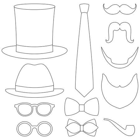 Icon line art poster man father dad day element set. Coloring book page for adults and kids. Hipster vector illustration for gift card certificate banner sticker badge stamp logo, label. Logo