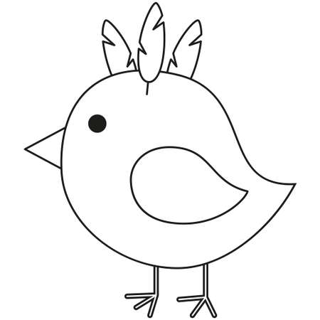 Line art black and white chicken chick icon poster. Coloring book page for adults and kids. Vector illustration for gift card, flyer, certificate or banner, icon, logo, patch, sticker Logo
