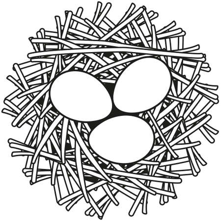 Line Art Black And White Egg Nest Icon Poster. Coloring Book ...