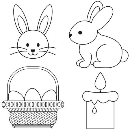 Line art black and white easter icon set bunny candle egg basket. Coloring book page for adults and kids. Vector illustration for gift card, flyer, certificate or banner, icon, patch, sticker Vector Illustration