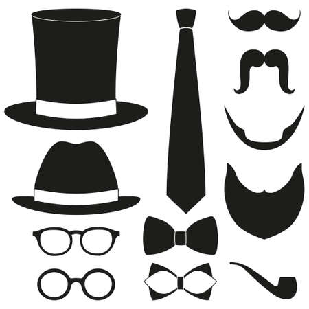 Set of icons for man avatar: hats, ties, beards, glasses. Hipster vector illustration on white background. Ilustração