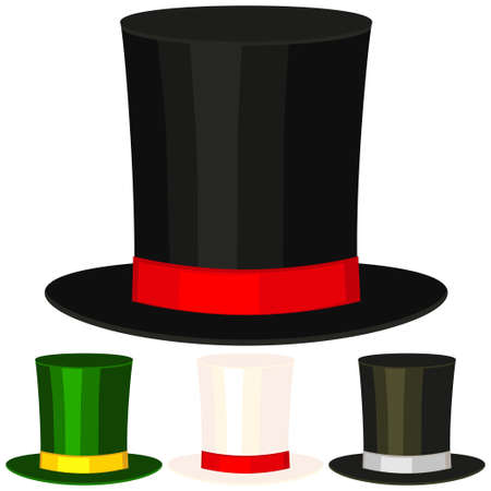 Set of different colored top hats on white background. Vector illustration. Illustration