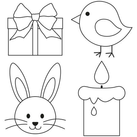 Line art black and white easter icon set chicken chick bunny face candle, gift box. Coloring book page for adults and kids. Vector illustration for gift card, flyer, certificate or banner, icon, logo, patch, sticker