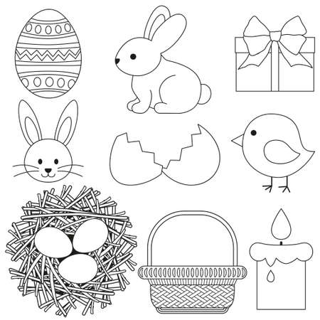 Line art black and white Easter icon set 9 elements. Coloring book page for adults and kids. Illustration