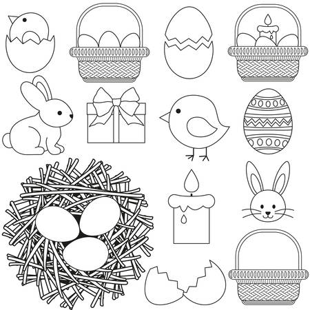 Line art black and white Easter icon set 13 elements. Coloring book page for adults and kids, vector illustration for gift card, flyer, certificate or banner, icon, patch, sticker. Vector Illustration