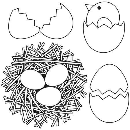 라인 아트 흑인과 백인 부활절 아이콘 치킨 둥지 달걀 껍질을 설정합니다. 성인과 어린이를위한 색칠하기 책 페이지. 선물 카드, 전단지, 인증서 또는 배너, 아이콘, 로고, 패치, 스티커에 대 한 벡터 일러스트 레이 션 스톡 콘텐츠 - 95797959