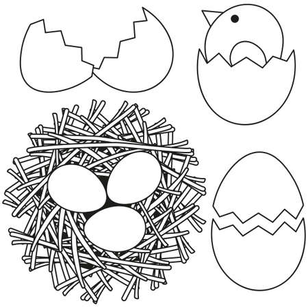 Line art black and white easter icon set chicken nest egg shell. Coloring book page for adults and kids. Vector illustration for gift card, flyer, certificate or banner, icon, logo, patch, sticker