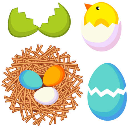 Cartoon bright colorful Easter icon set chicken nest egg shell.