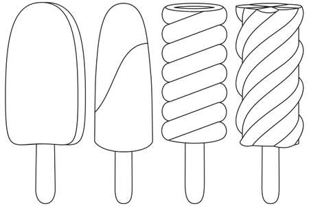 Ice cream on black and white icon set. Coloring book page for adults and kids.