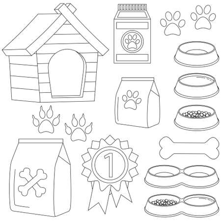 Line art black and white pet care 13 icon set poster. Vector illustration with dog house, bone, paw prints, pet food and bowls.