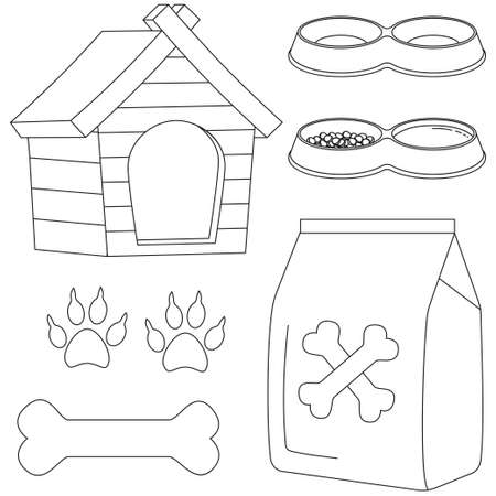 Line art black and white dog pet care icon set. Vector illustration for gift card, flyer, certificate banner, logo, patch, sticker