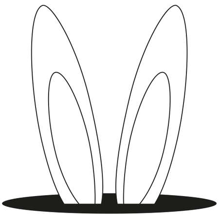 Line art black and white rabbit ears hole icon poster. Coloring book page for adults and kids.