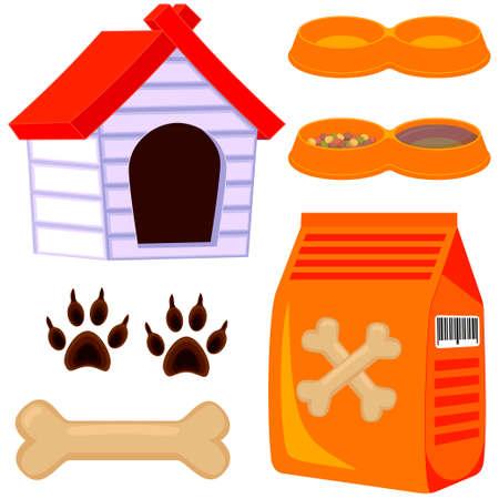 Conjunto de iconos de cuidado de mascotas de perro de dibujos animados coloridos. Ilustración de vector de tarjeta de regalo, folleto, banner de certificado, logotipo, parche, pegatina