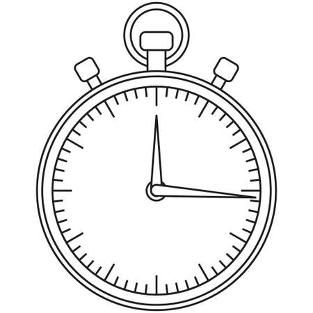 Line art black and white sport timer icon. Coloring book page for adults and kids. Sport vector illustration for gift card, flayer, certificate banner, icon, logo, patch sticker 矢量图像