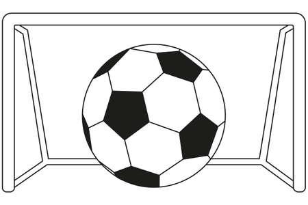 Line art black and white soccer football game goal icon poster. Sport vector illustration