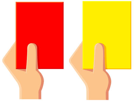 Cartoon yellow red soccer referee card icon set.