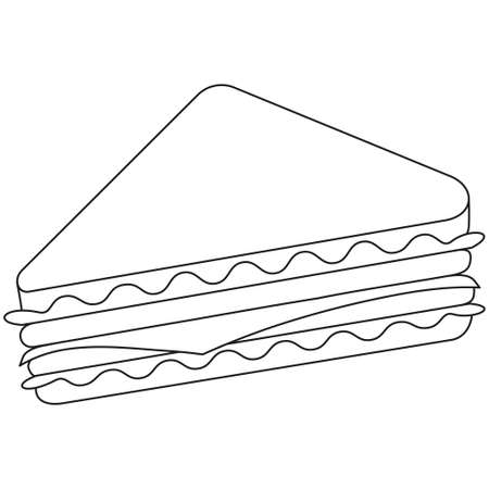 Black and white line art sandwich icon poster. Comfort fast food vector illustration for gift card certificate banner sticker, badge sign, stamp, logo, icon label.